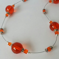 Tangerine Glass & Crystal Necklace Gift Boxed Christmas Birthday Gift