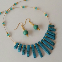 50% OFF - Turquoise & Gold Gemstone Necklace with Matching Earrings
