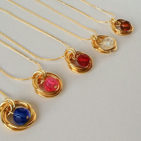 Twelve Colours Crystal Gold Plated Spiral Necklace Handmade by Cool Creations