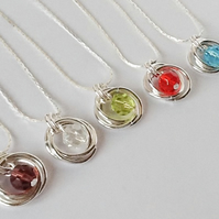 Twelve Colours Crystal Silver Plated Spiral Pendant Handmade by Cool Creations