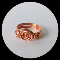 Bright Copper Wire Wrapped Ring