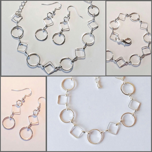 Adjustable Contemporary Silver Plated Bracelet with Matching Earrings