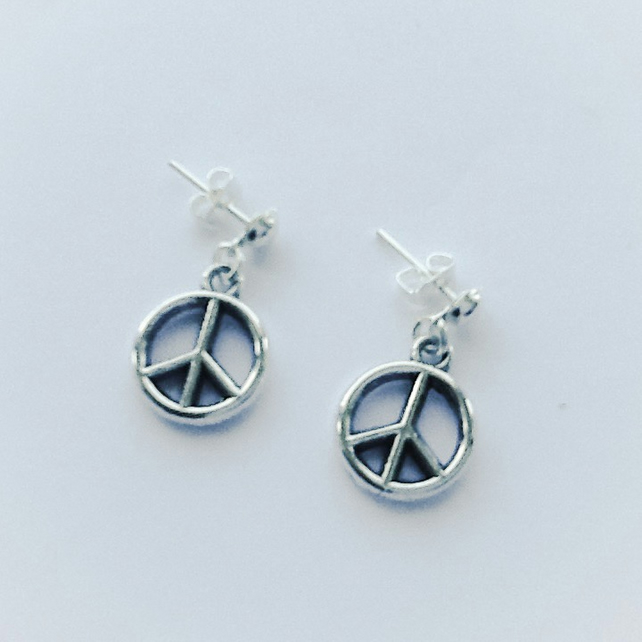 'Peace' Symbol Silver Plated Earrings