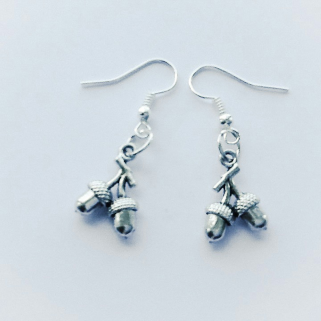 Nuts about Acorns Silver Plated Earrings