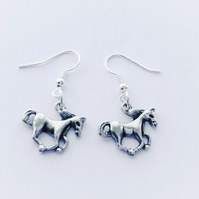 Galloping Horse Silver Plated Earrings