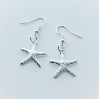 Shiny Starfish Silver Plated Earrings
