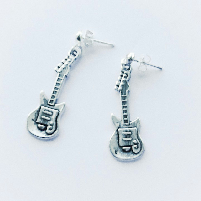 Guitar Charms Silver Plated Earrings
