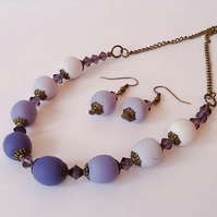 Purple Bronze Plated Necklace with Matching Earrings