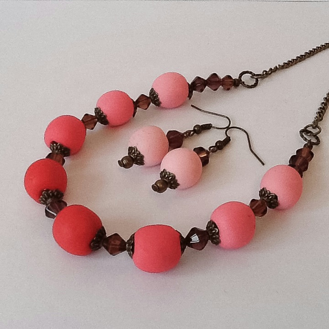 Red Bronze Plated Necklace with Matching Earrings