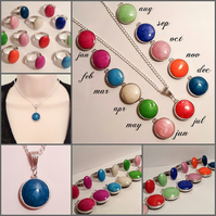 Twelve Colours Reversible Pendant Necklace with Adjustable Matching Ring