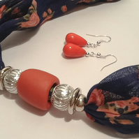 50% OFF - Terracotta Magnetic Necklace Scarf with Coordinating Earrings