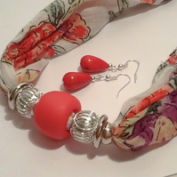 50% OFF - Floral Magnetic Necklace Scarf with Coordinating Earrings