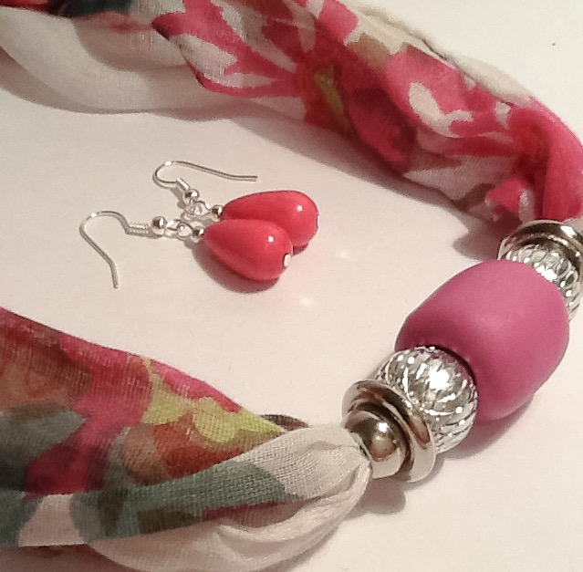 50% OFF - Pink Magnetic Necklace Scarf with Coordinating Earrings