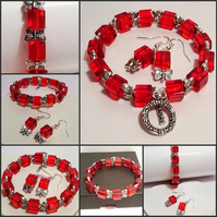 50% OFF - Red Crystal Bracelet with Matching Earrings