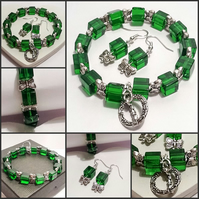 50% OFF - Green Crystal Bracelet with Matching Earrings