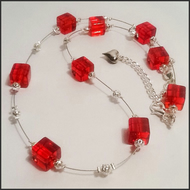 Red Crystal Necklace With Matching Earrings