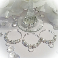 Silver Tone Wine Glass Charms