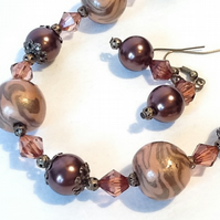 Copper & Bronze Necklace with Matching Earrings