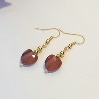 Brown & Gold Heart Shaped Earrings