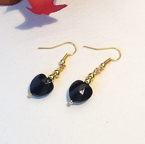 Black & Gold Heart Shaped Earrings
