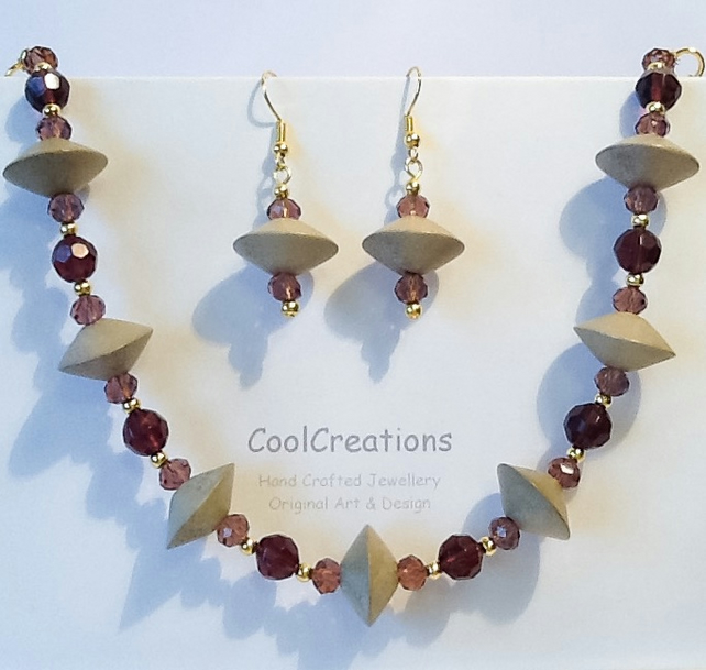 50% OFF-Taupe & Claret Jewellery Set