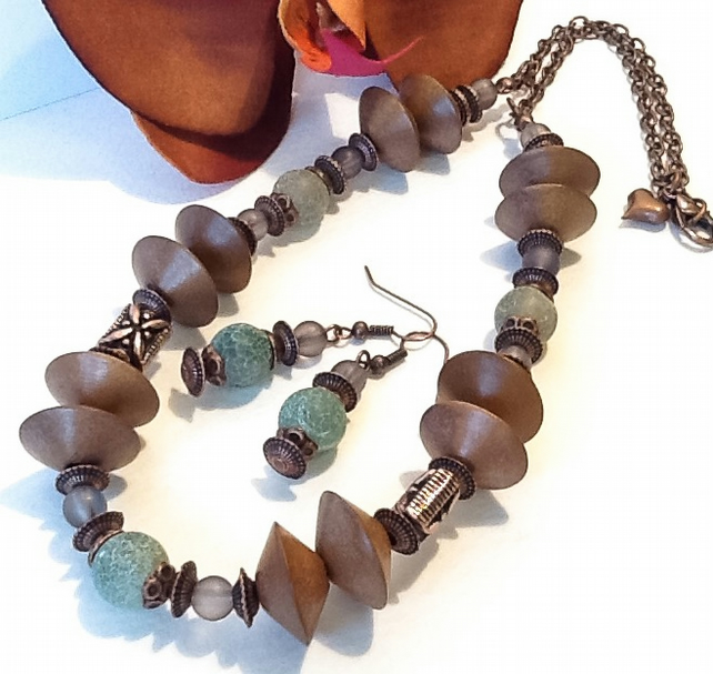 Olive & Copper Gemstone Necklace with Matching Earrings