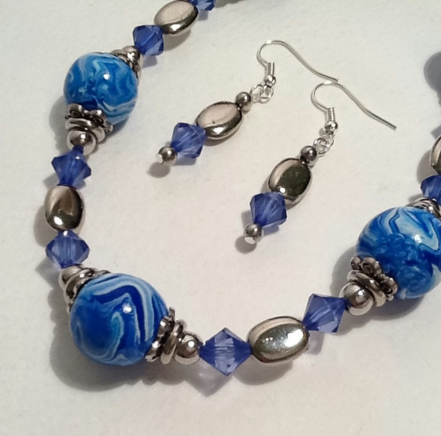 Blue Necklace Set made with Handmade Beads