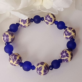Stretchy Bracelet with Handmade Beads
