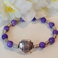 Purple Dragonvein Stretchy Gemstone Bracelet