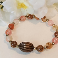 Pink Tourmaline Stretchy Gemstone Bracelet