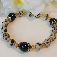 Black Spotted Dalmation Jasper Stretchy Gemstone Bracelet