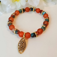 Turquoise & Red Fossil Stretchy Gemstone Bracelet