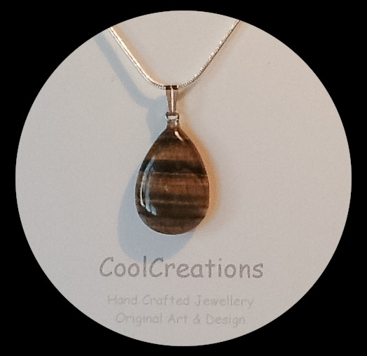 Brown Tiger Eye Gemstone Teardrop Pendant Necklace