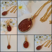 Copper Brown Goldstone Chunky Gemstone Pendant