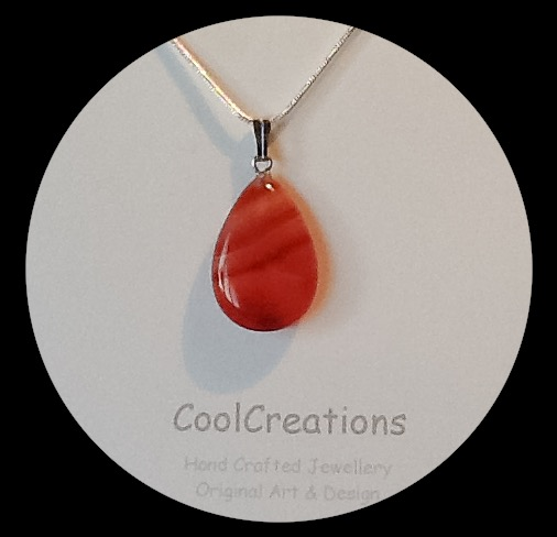 Red Carnelian Gemstone Teardop Pendant Necklace