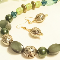 'Emerald Forest' Green Necklace with Matching Earrings
