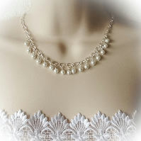 Bridal White Pearl Necklace, Bracelet & Earrings Set