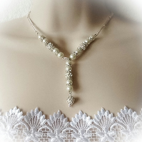 Bridal Ivory Pearl Vintage Look Necklace, Bracelet & Earring Set