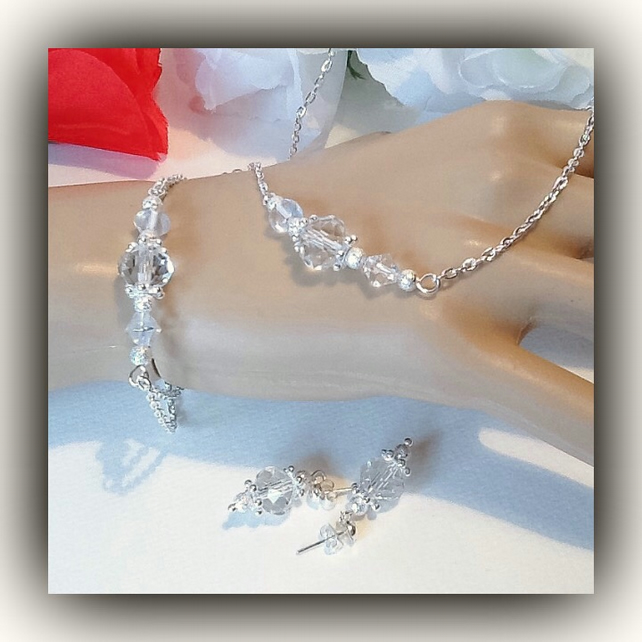 Crystal Bridal Necklace with Matching Bracelet & Earrings