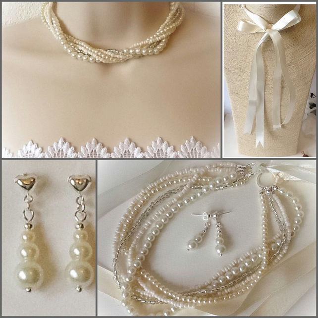 Bridal Ivory Necklace with Pearl Earrings