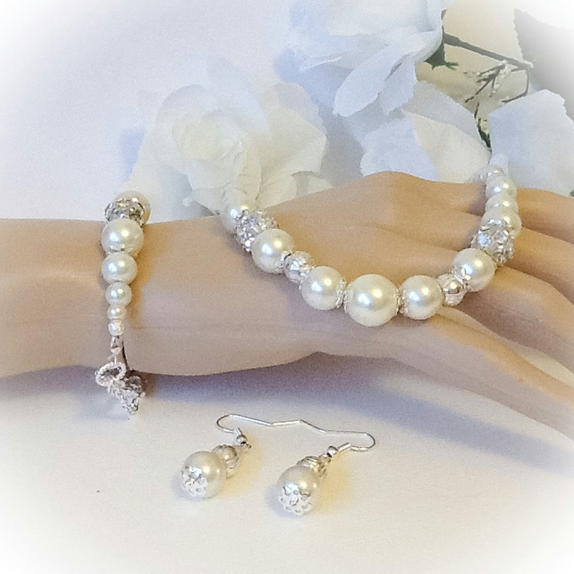 Bridal Ivory Pearl Necklace with Matching Bracelet & Earrings