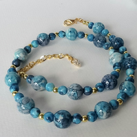 'Blue Ocean' Jade Necklace & Earrings Set Gift Boxed Birthday Christmas Gift