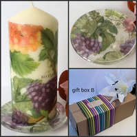 One-Off Hand Decorated Candle Gift Set Gift Boxed for Christmas Birthday Gift