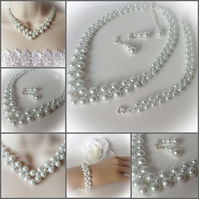 White Pearl Bridal 'V' Shaped Necklace with Bracelet & Earrings