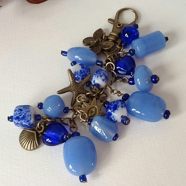Blue Indian Glass Bag Charm or Car Accessory by Cool Creations