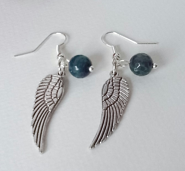 Sea Green Agate Angel Wings Earrings by Cool Creations
