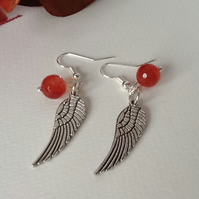 Tangerine Agate Angel Wings Earrings by Cool Creations