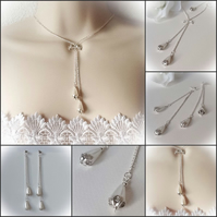 Teardrop Pearl Bridal Jewellery Set with Necklace & Matching Earrings