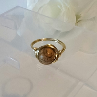 Handmade Picture Jasper Gold Plated Ring Size M by Cool Creations