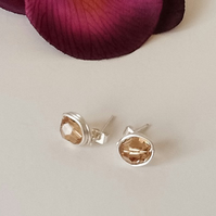Handmade Swarovski Crystal 'Lt Topaz' Silver Plated Ear Studs by Cool Creations